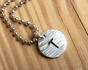 Men's Necklace- Personalized Initial Men's Necklace - Textured Pendant on Chain of your choice