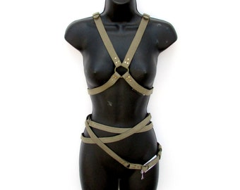 Sage Leather Fashion Harness - MOONBOUND