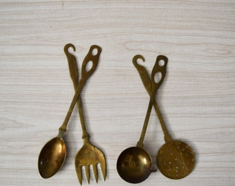 """12"""" vintage set of 4 solid brass copper french style hanging kitchen utensils / ladle / spoon"""