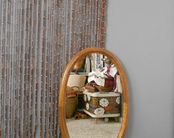 30% SALE / vintage large carved wooden oval wall hanging mirror