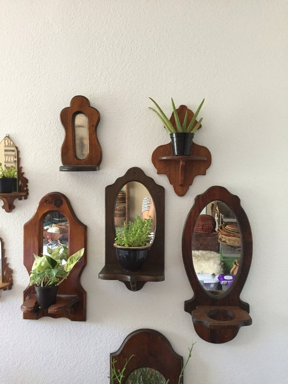 Vintage Wood Mirror Wall Hanging Planters Plant Stands