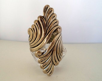 Huge Bold Sterling Silver Wrap Cuff Signed Sterling Over 4 Inches Tall
