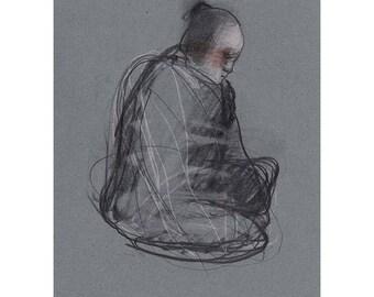 Sitting original art drawing man woman people