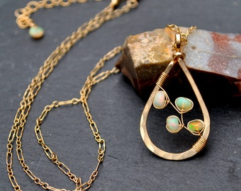 Gold Opal Necklace, Genuine Ethiopian Welo Opal Pendant Necklace, Hammered Gold Teardrop Pendant, Artisan Opal Necklace, Gift For Her
