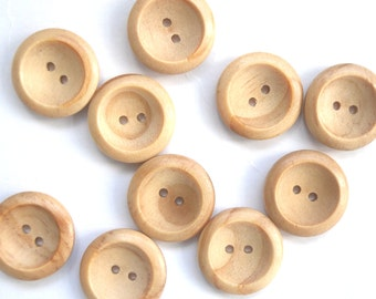 medium wooden  buttons , 22 mm across , baby clothes buttons , set of 10 round buttons with 2 holes , 2.2cm wood buttons , small buttons
