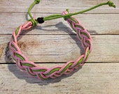 Pink & Green Braided Bracelet, Multicolor Bracelet, Waxed Cotton Bracelet, Pink and Green Bracelet, AKA Bracelet, DZ Bracelet