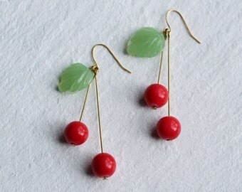 Cherry Earrings ... Fruit Glass Vintage Long Earrings