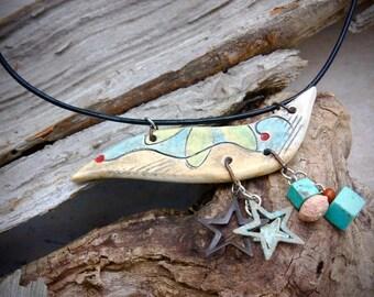 Handmade ceramic pendant leather cord necklace  - CN616-1