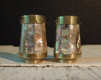 Vintage Inlaid Mother of Pearl Salt and Pepper / Brass Salt and Pepper Shakers / Mid Century / Beach / Kitchen / Wedding Gift