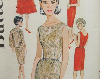Vintage Butterick 2460 Sewing Pattern, 1960s Dress Pattern, Sheath Dress, Capelet pattern, Jacket Pattern, 1960s Sewing Pattern, Bust 34