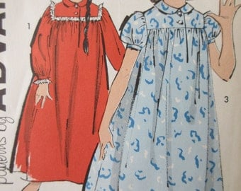 Vintage Advance 2707 Sewing Pattern, 1960s Nightgown Pattern, Girls' Nighties, Child Nightgown, Sleepwear Pattern, 1960s Sewing Pattern