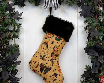 Rockabilly Punk Christmas Stocking Classic Tattoo Tan with Black Fur
