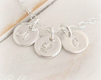 Sterling Silver Initial Necklace Personalized Tiny Charm Custom Hand Stamped 3 Disc Family Necklace Script Font Tiny Dot Mothers Necklace