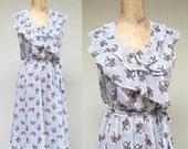 Vintage 1970s Dress / 70s Semi Sheer White Floral Chiffon Dress / Small - Medium