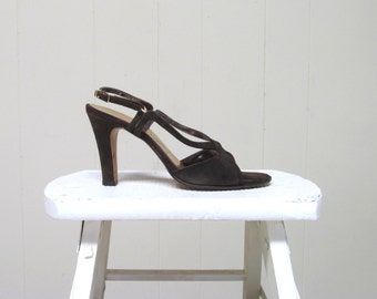 Vintage 1980s Shoes / 80s Brown Suede High Heeled Joyce Sandals / Size 7 1/2 N USA