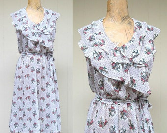 Vintage 1970s Dress / 70s Semi Sheer White Floral Chiffon Dress / Small - Medium