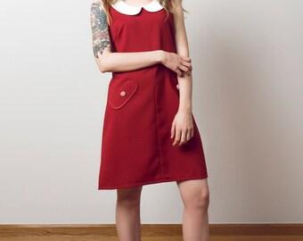 Mod scooter Peter Pan dress red a line retro 60s mini dress