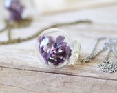 Terrarium necklace, glass globe, botanical jewelry,  vial necklace, romantic jewelry, purple lilac, Gift Under 30