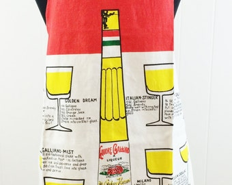 Vintage 1968 Zucchi Galliano Liquore Barman Alcohol Drink Recipe Apron-Italy lnl