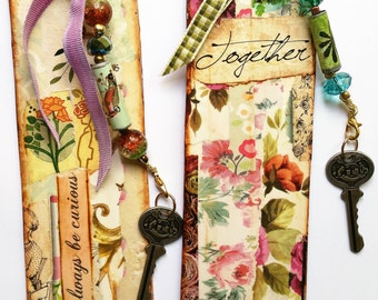 Bookmark Set - Pair of Bookmarks, Paper Collage Bookmarks with Beaded Tassels, Handmade Bookmarks, Teacher Gift