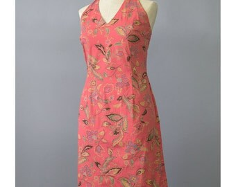 25% OFF SALE - Floral Halter Dress 90s Dress Jones New York Floral Print Cotton Sundress Mini Dress Coral Salmon 1990s Dress Floral Dress