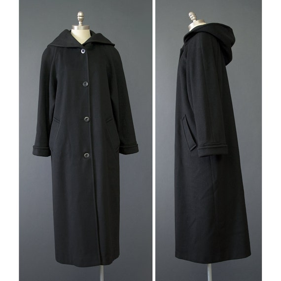 SALE 80s Coat Black Wool Coat with Hood by recyclinghistory