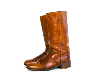 Vintage 70's FRYE Leather Boots Tall Men's Size 11 D Made in the USA Rustic/Hip Americana Leather Work Boots