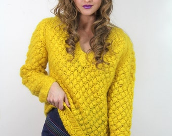 Vintage 60s Mod SWEATER YELLOW Italian Handknit Wool Mohair/ Spring / Vintage Clothes by TatiTati Style on Etsy