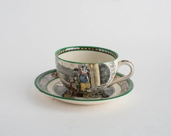 Antique Adams Pottery Tea Cup and Saucer 1896 Transferware Made in England Teacup Cries of London