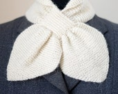 40s style knitted alpaca bow scarf, natural white