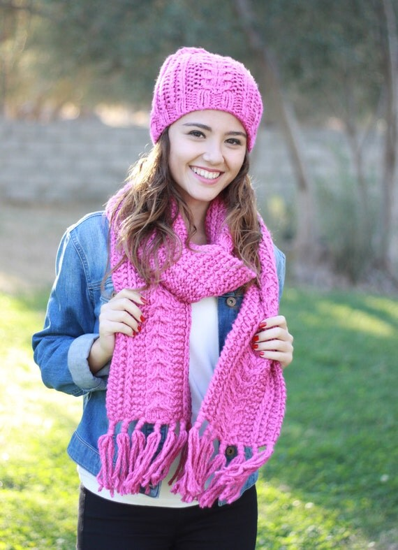 hat scarf set matching knit scarf hat set fuschia