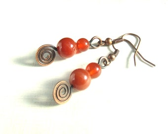 Red copper earrings, gemstone carnelian earrings, antiqued copper jewelry gift for women