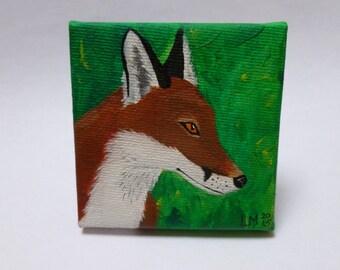 SALE Red Fox Painting Mini Original Art Canvas Painting Fox Woodland Animal