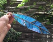 Blue Bird Spirit Feather Sun-catcher Stained Glass Window Panel for Home and Garden