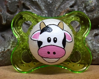 Moo Cow Custom Hand Painted Pacifier by PiquantDesigns