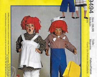 McCall's 9494 Raggedy Ann and Andy Adult Costume Sewing Pattern Size 14 to 16 Chest Bust 36 to 38