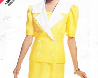 Butterick 3858 See & Sew Misses 80s Jacket and Dress Sewing Pattern Size 12 to 16 Bust 34 to 38