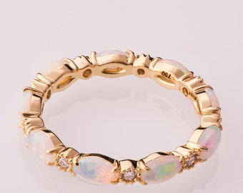 Opal engagement ring, Opal Eternity ring, Opal Jewelry, Unique Engagement ring, Australian Opal Ring, Opal Diamond ring, eternity band