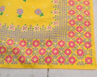 1960s Yellow Floral Scarf