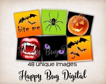 "Halloween Digital Collage Sheet - 1"" Inch Squares for Tile Pendants - INSTANT DOWNLOAD"