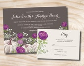 White Pumpkin Purple Floral Fall Wedding Invitation and Response Card Invitation Suite