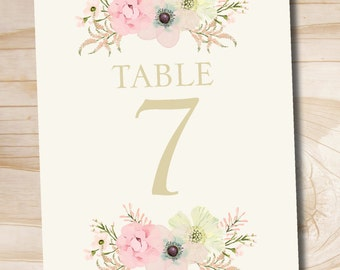 INSTANT DOWNLOAD Rustic Soft watercolor Flower Floral Table Numbers 1-20