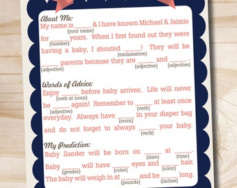 INSTANT DOWNLOAD Shower Libs Baby Shower Mad Libs, Navy and Coral - Digital Download