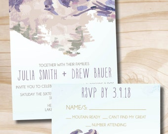 Watercolor Mountain Wedding Invitation Response Card Invitation Suite, Winter Wedding, Spring Wedding, Mountaintop, Slopeside I Do