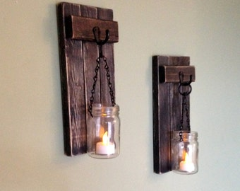 rustic wall decor wall sconce wooden sconce wooden candle holder mason jar