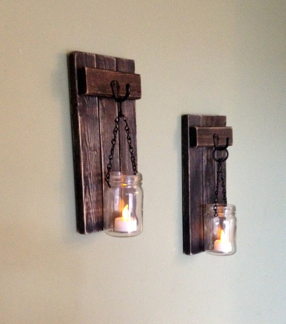 Wall Sconce Elle Decor : Rustic Wall Decor Wall Sconce Wooden Sconce Wooden Candle