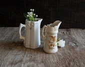 Set of Vintage Ivory Floral Vases