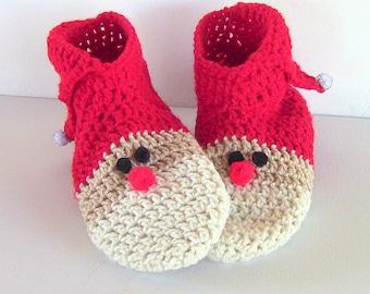 Santa Slippers, Santa Booties, Slippers, Santa Claus Slipper Socks