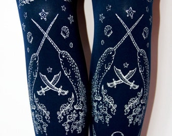 SALE Silver on Navy Blue M L Tall Nautical Sailor Lolita Tights Pirate Narwhal Tights Printed Medium Large Tall Womens Thick
