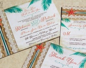 NEW! Two Less Fish in the Sea Tropical Destination Wedding Invitation. Starfish wedding Invitations. Beach destination wedding invitations.